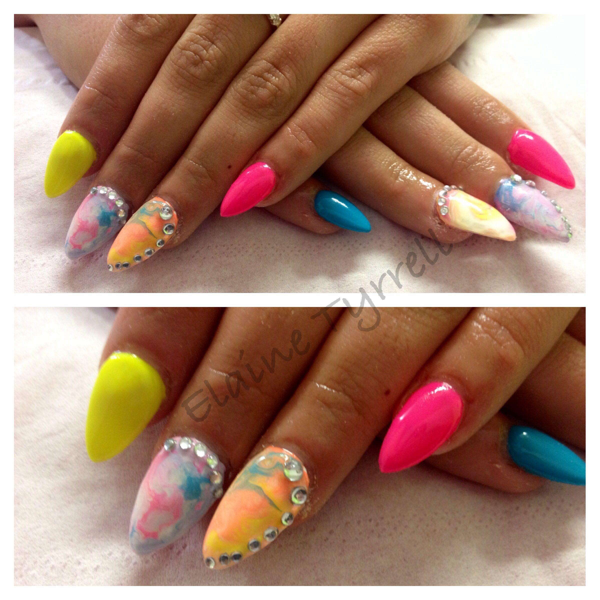 Bright Funky Colourful Acrylic Nails Stiletto Nails Colourful Acrylic Nails Nails Acrylic Nails Stiletto