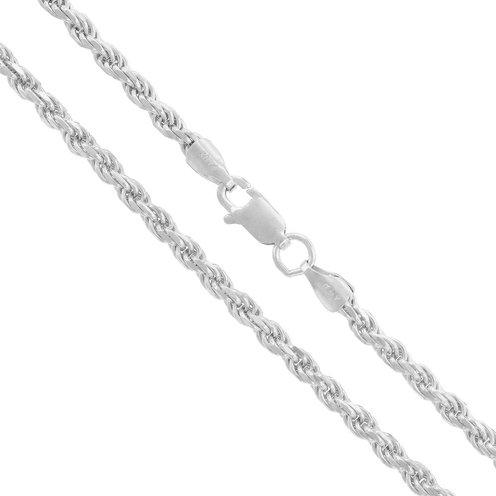 Solid 925 Sterling Silver 3mm Italian Diamond Cut Twisted Rope Chain Necklace