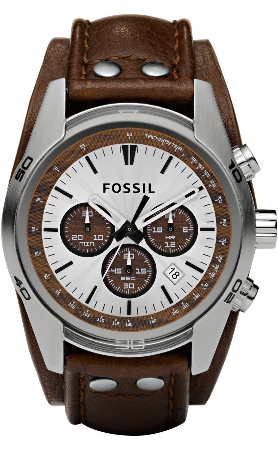 Fossil Men's CH2565 Cuff Chronograph Tan Leather Watch < $91.00 > Fossil Watch Men