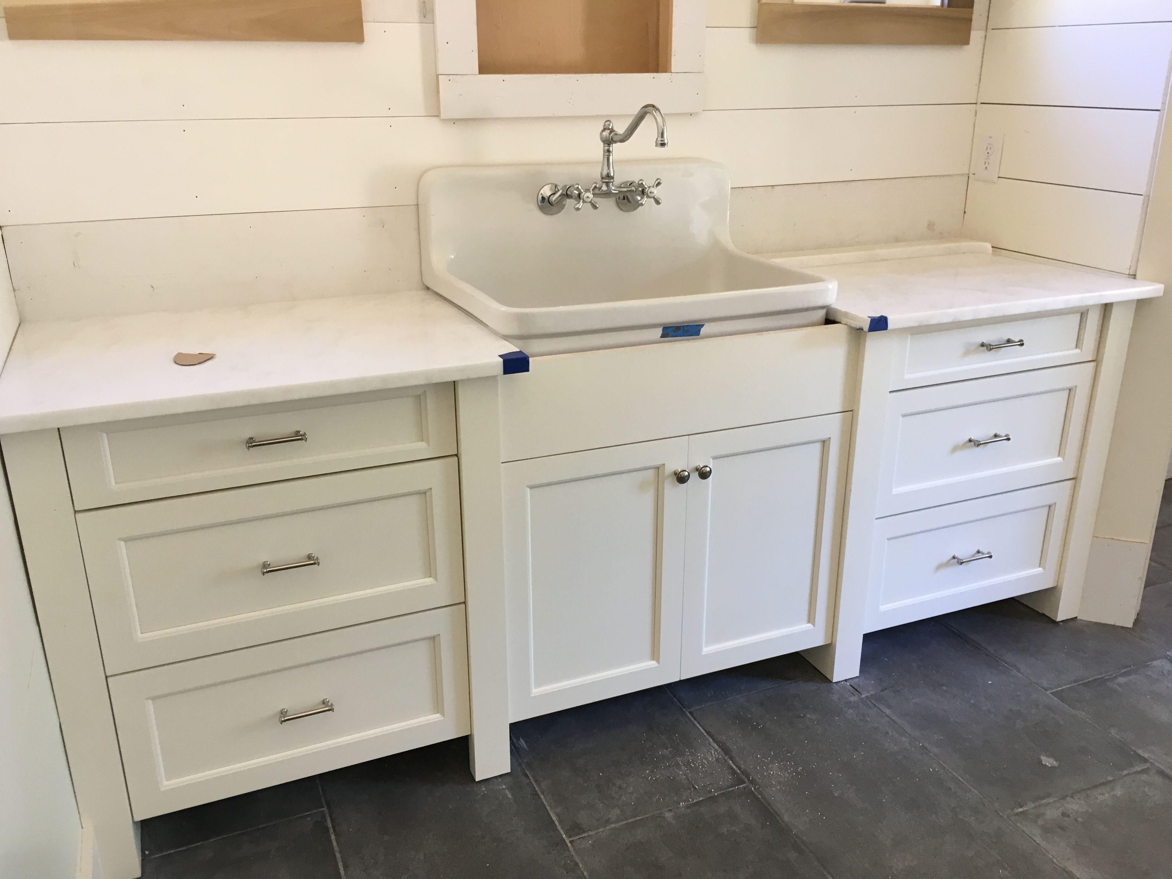 Her Master bath vanity in Sherwin Williams Dover White