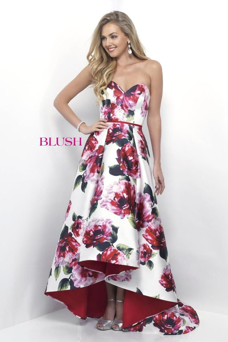 Blush off whitevalentinemulti floral piece prom dress