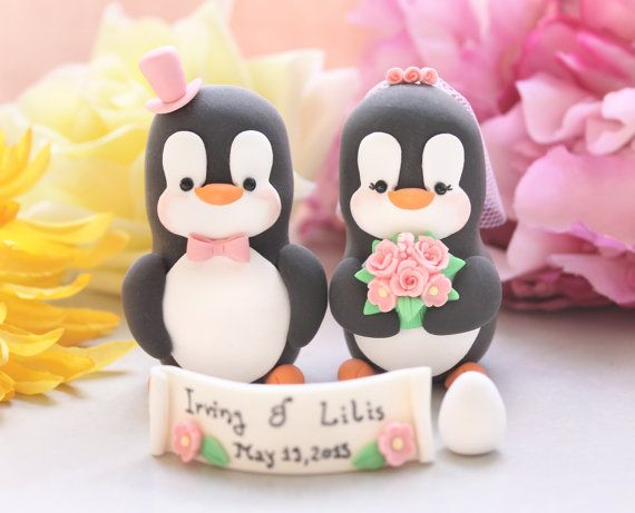 egg wedding cake topper unique penguins with banner and egg custom wedding cake 13943