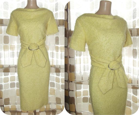 """$89 #Vintage #60s Lemon Yellow Curly Boucle Knit #Wiggle #Dress #Madmen #Mohair/Alpaca 38""""Bst/ 26"""" Wst #VCAT #VINTAGELOVE by IntrigueU4Ever, $89.00"""