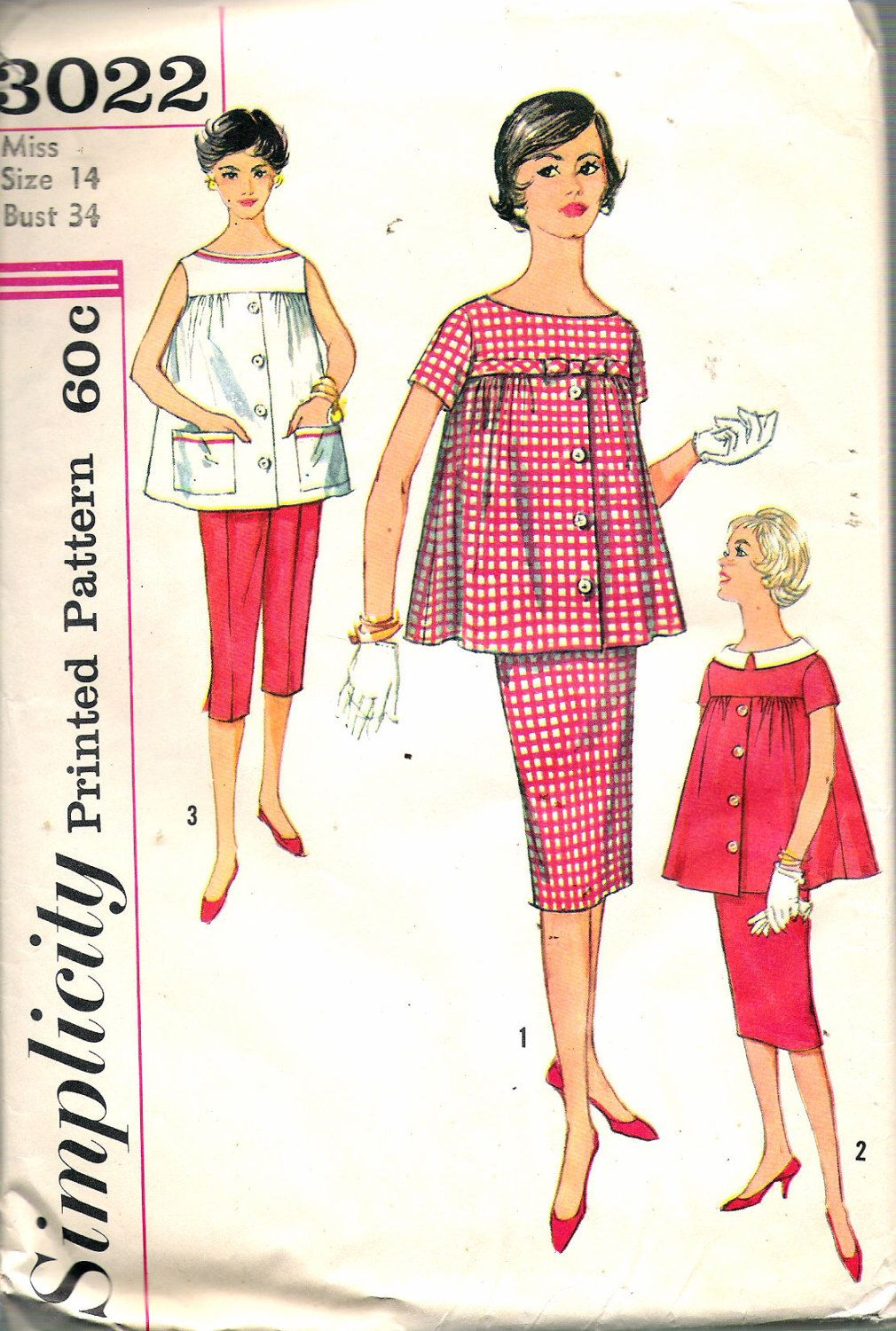 34 Best Vintage Kitchen Decor Ideas And Designs For 2019: Vintage 1959 Simplicity 3022 Maternity Skirt, Pants & Top