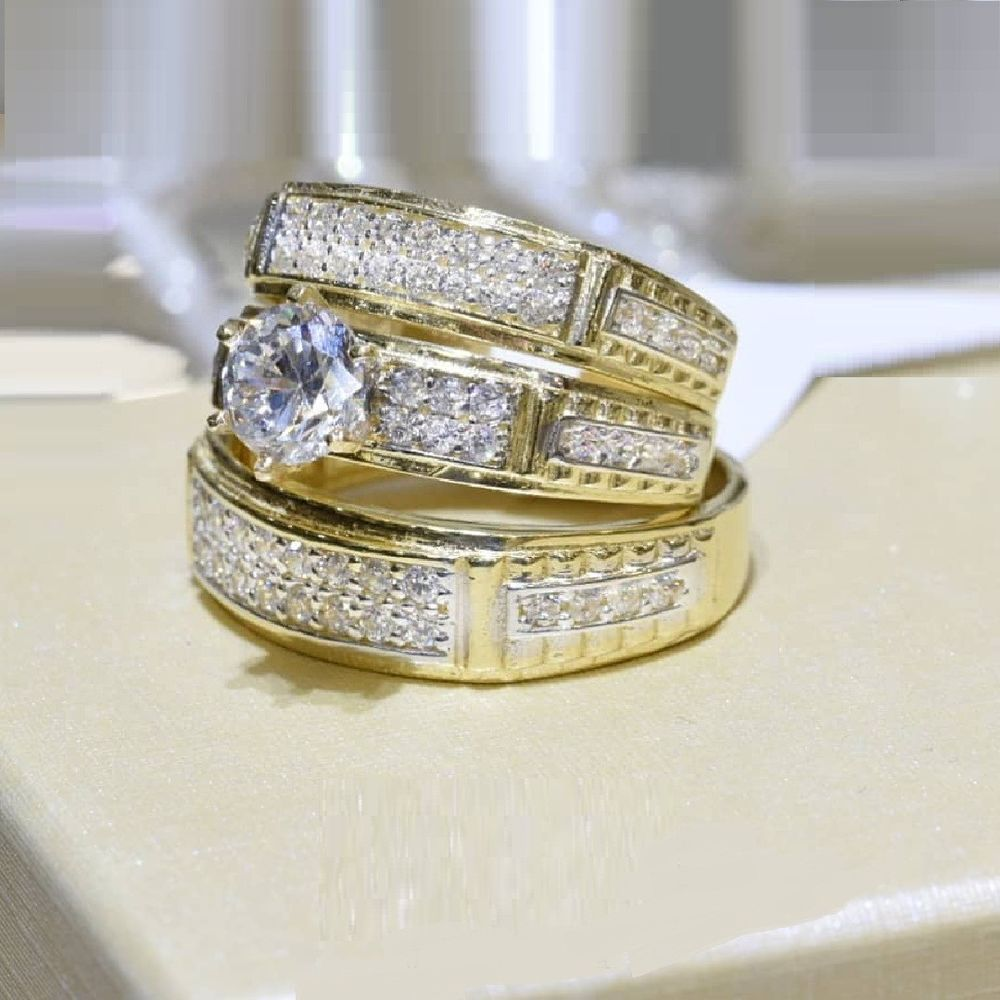 14k Yellow Gold Round Cut Engagement Ring Diamond Trio Wedding Band