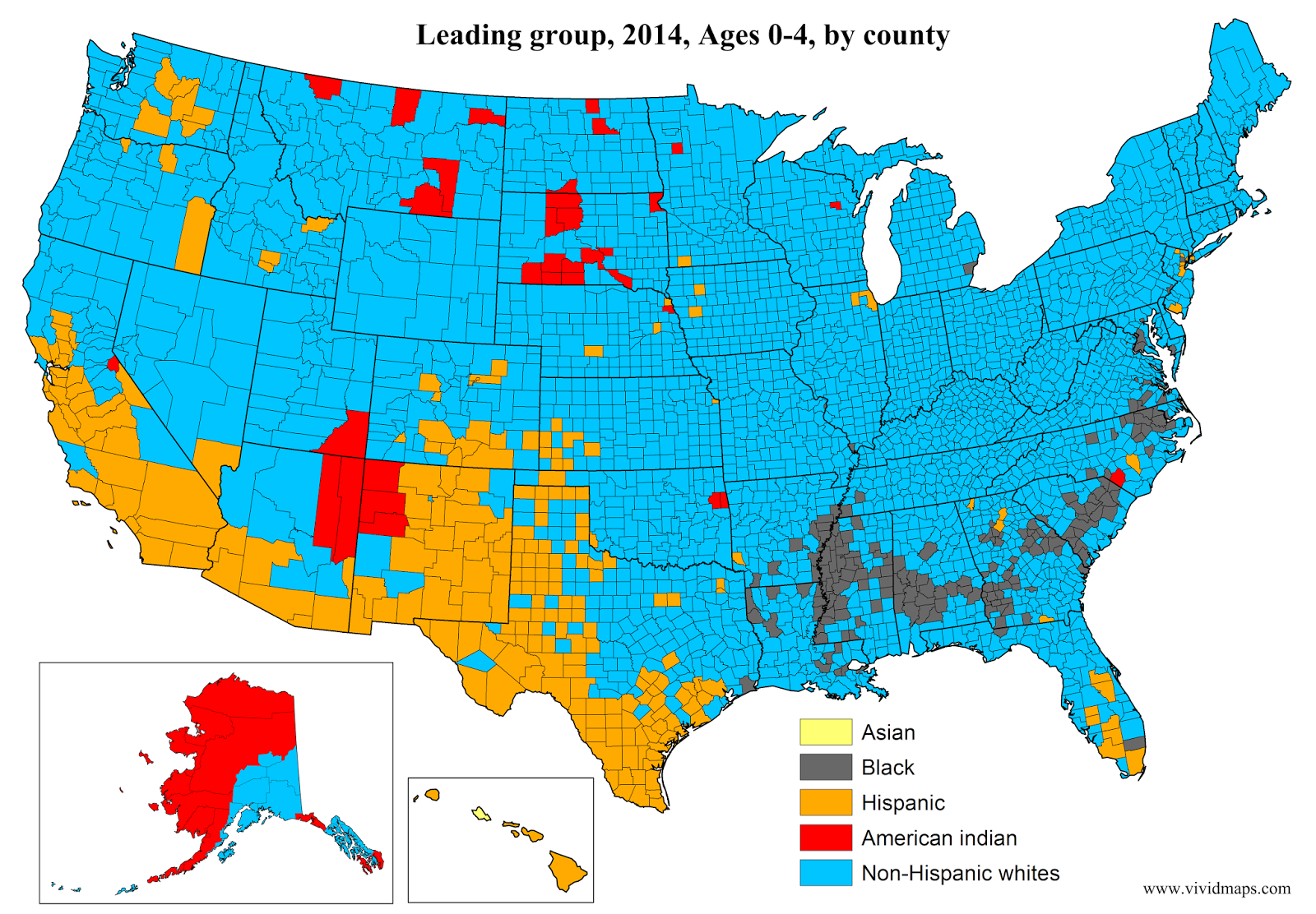 Leading Group Ages 0 4 By U S County