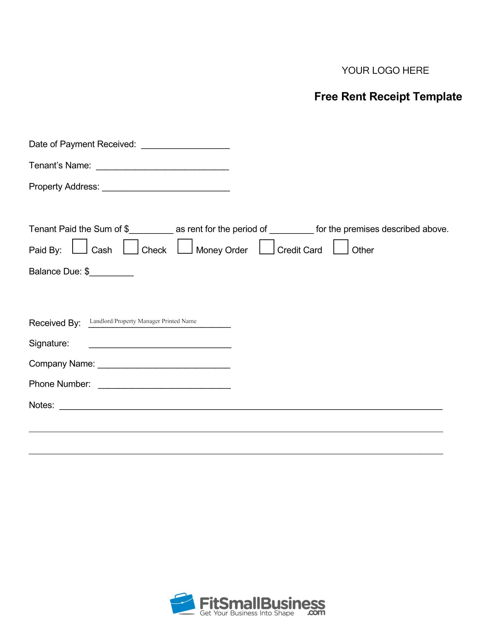 Rent Receipt Template Receipt Template Templates Business Newsletter Templates