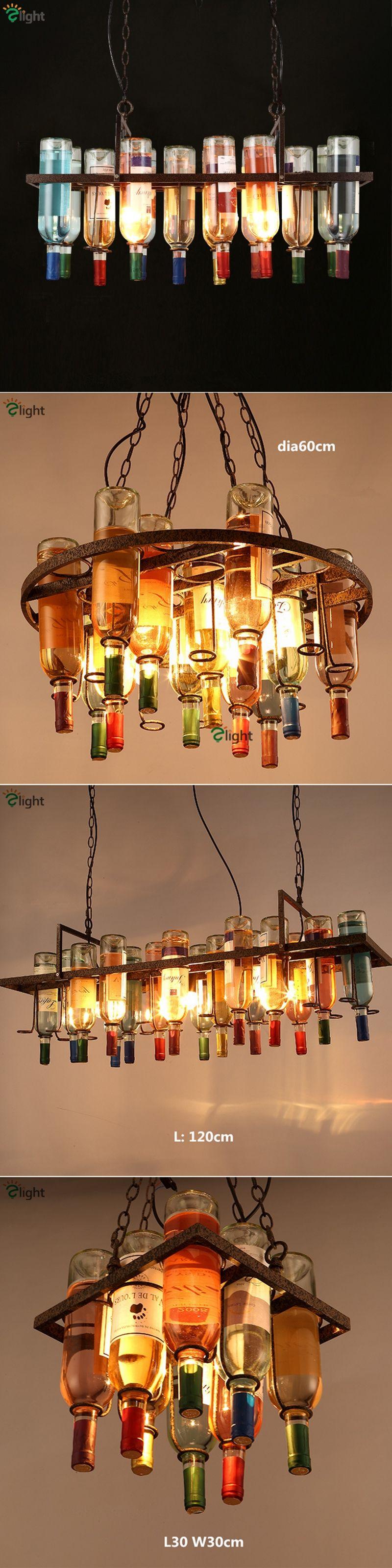 American Retro Loft Colorful Wine Bottle Chain Pendant Light Led