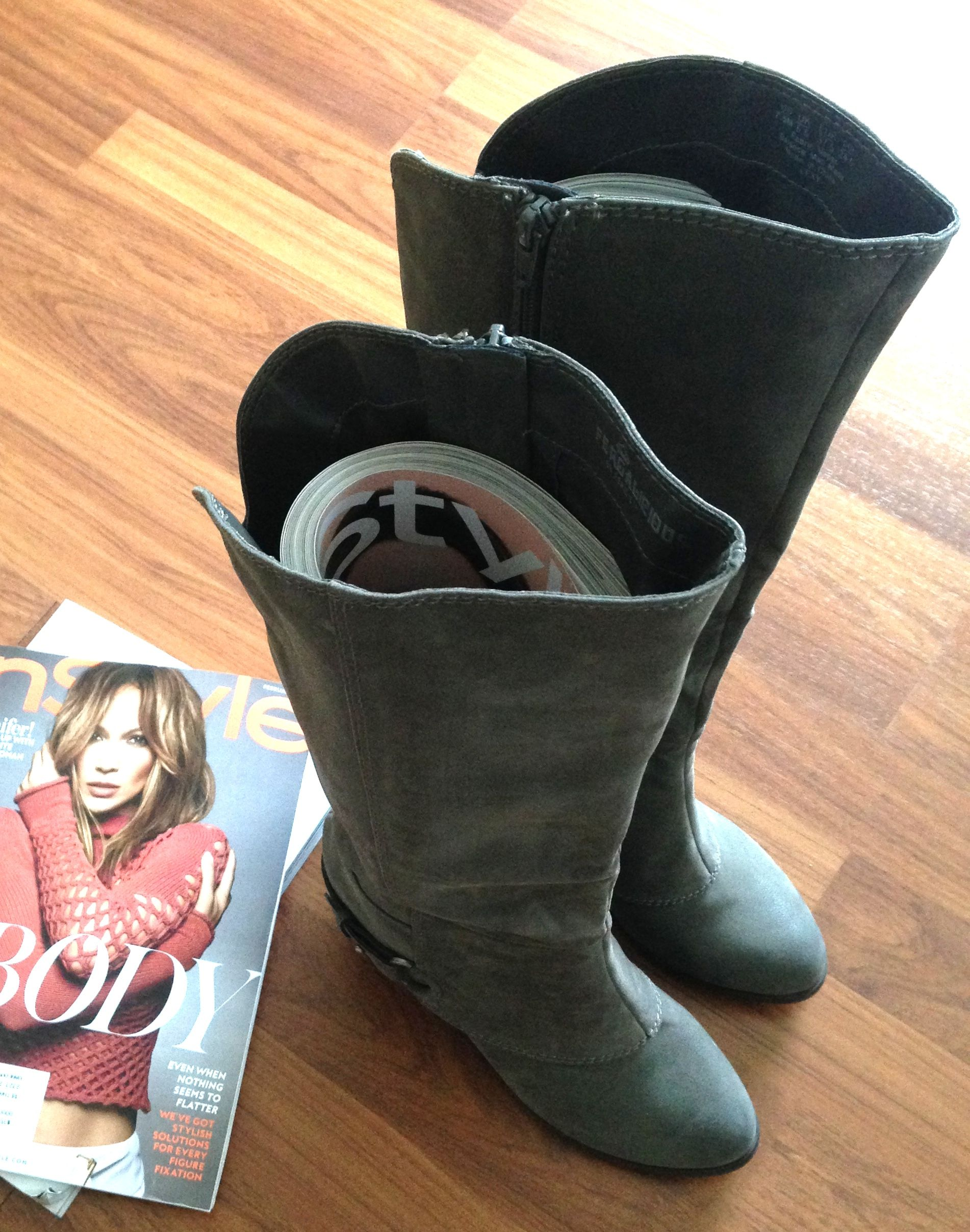 DIY Boot Savers | Up-cycle your magazines and save your boots' flawless shape!