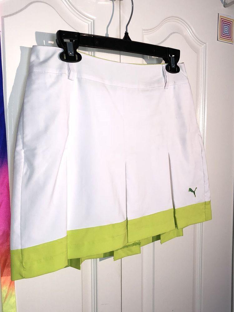 reputable site 59fac 16971 Puma Womens Pleated Tech Golf Skirt 6 White Lime Green Skorts Pockets Tennis    eBay
