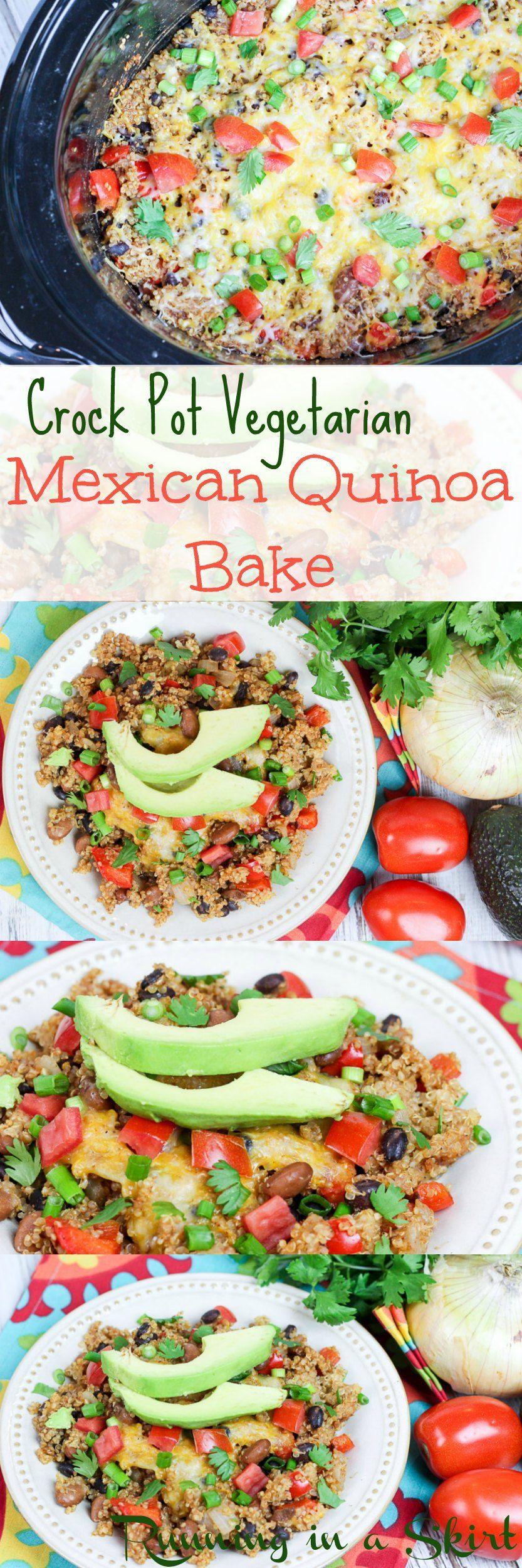 Crock pot vegetarian mexican quinoa bake running in a
