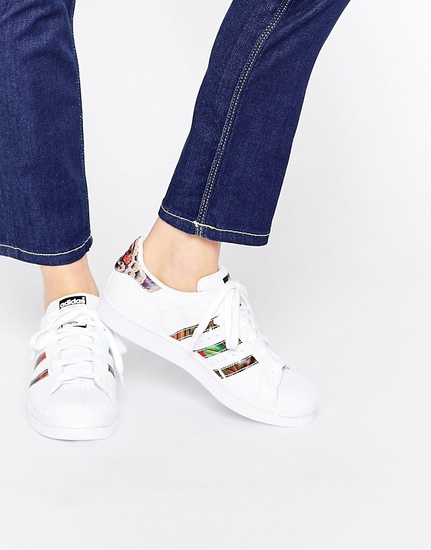 3dfb599ebfd678 adidas Originals White Superstar With Floral Trim Trainers saved by   ShoppingIS