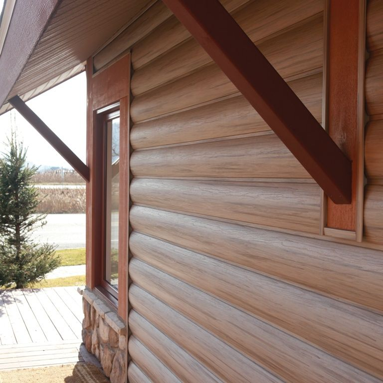 The Adirondack Wall System Offers The Rustic Look Of Real Wood Log Siding With The Durability And Low Mai Vinyl Log Siding House Siding Mountain Home Exterior