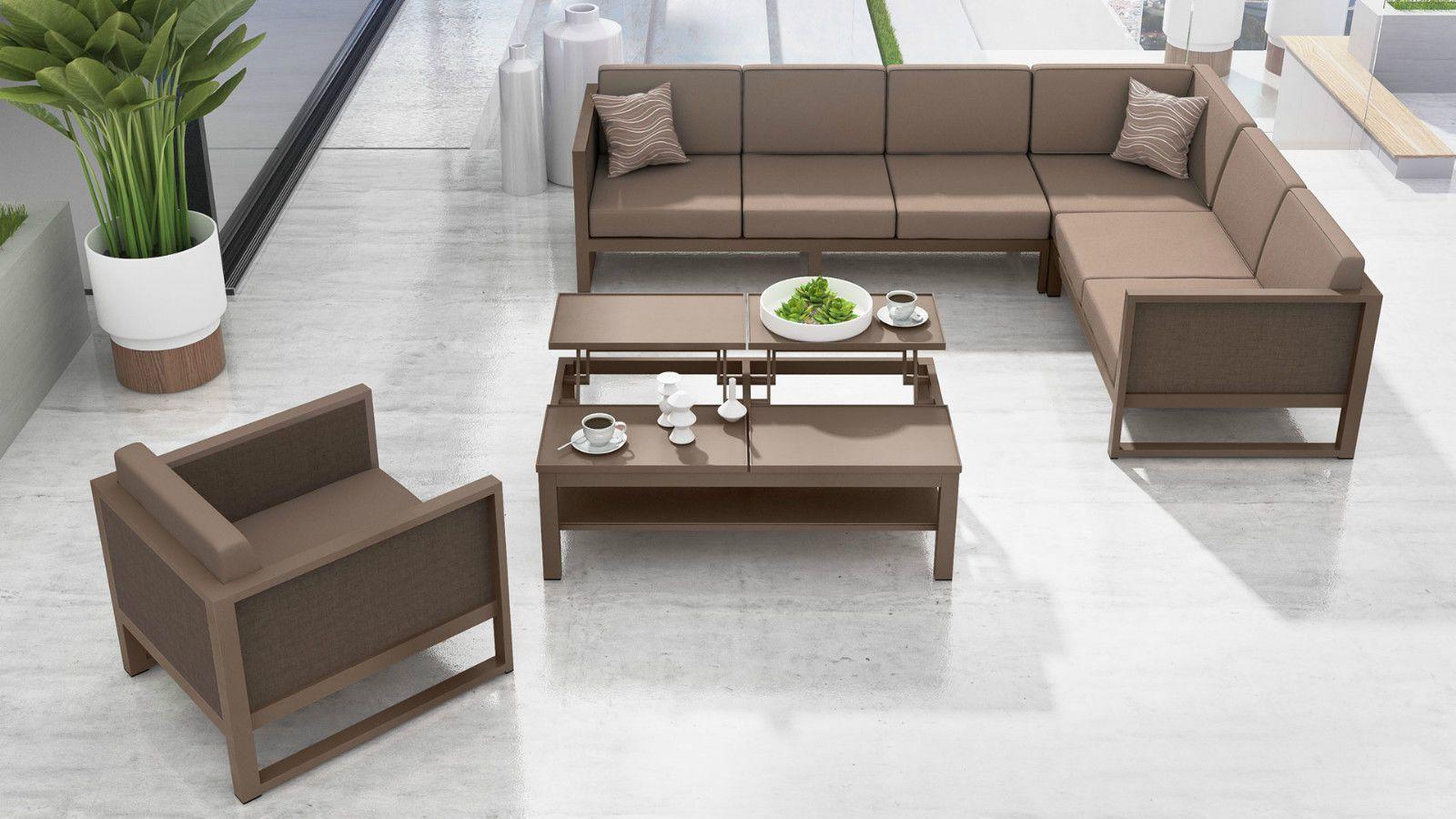 gartenmöbel aluminium sitzgruppe lounge murano 265x205 cm taupe, Möbel