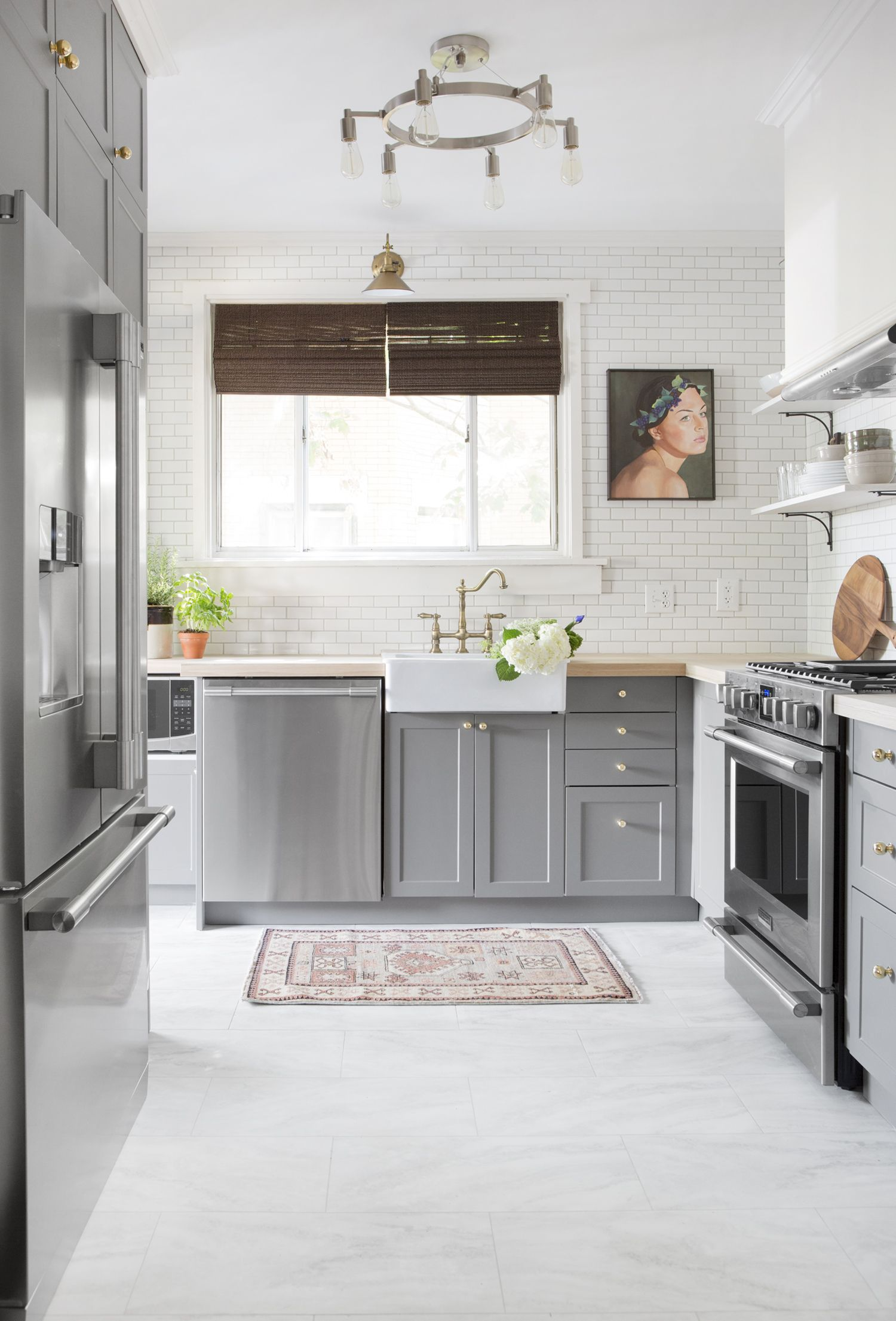 Dark Tile Kitchen Floor White Cabinets   Novocom.top