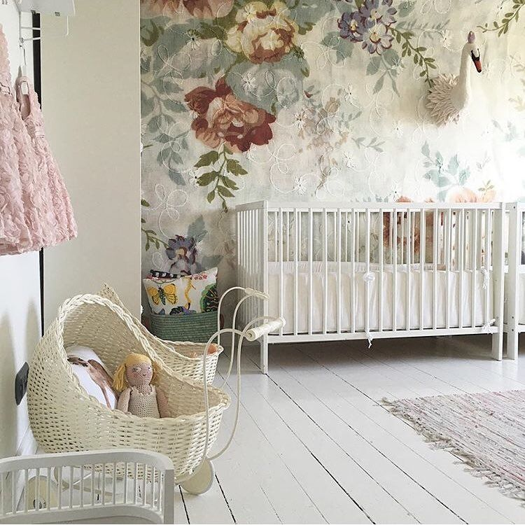 """A beautiful place to sleep and play. The wallpaper MrPerswall """"Blossom"""" decorates the room. Photo cred @martina_nyberg Se the wallpaper here: http://www.mrperswall.com/wall-murals/blossom-p162101-8"""