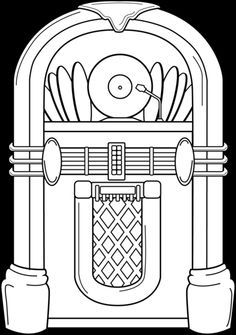 Jukebox Coloring Page 50s Dance Party Sock Hop Sock