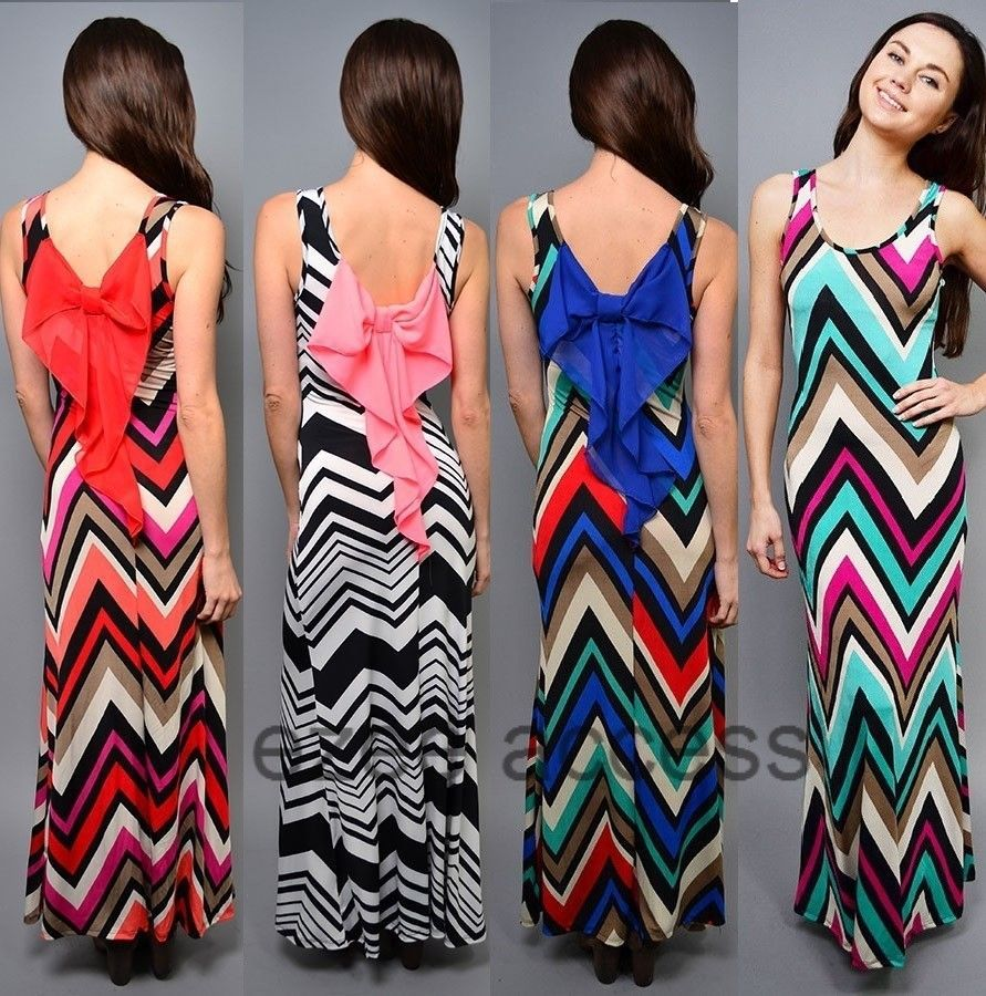 Women chevron maxi dress zig zag striped back bow long maxi summer