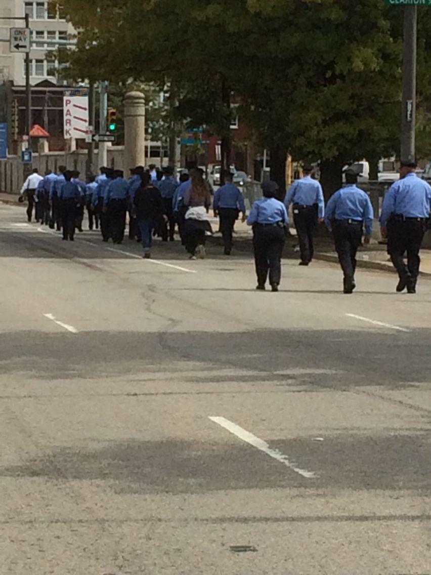 A police parade on Vine St