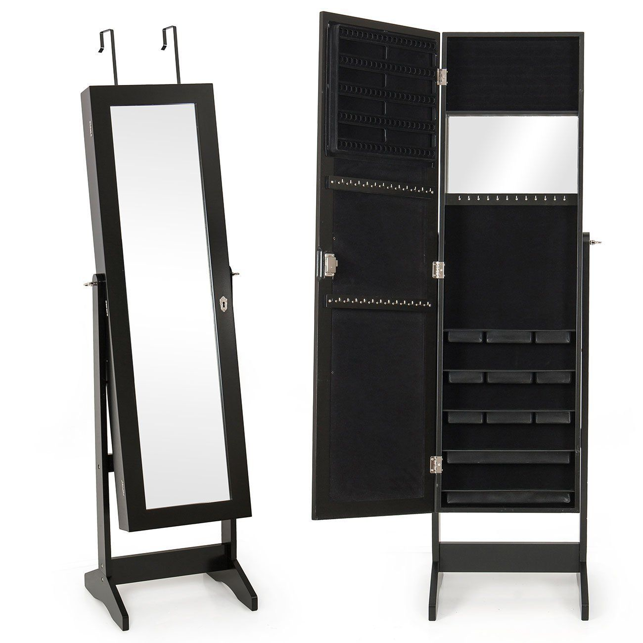 Mirrored Jewelry Cabinet Armoire Amazoncom Bellezzac Mirrored W Stand Jewelry Cabinet Mirror