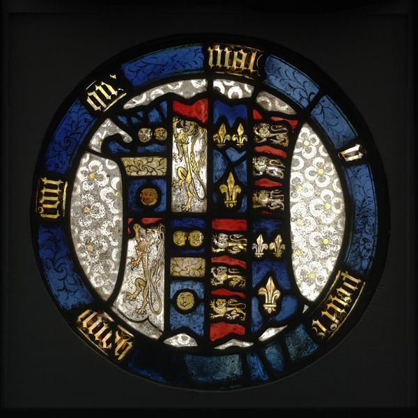 Panel. Arms of Elizabeth de la Pole, Duchess of Suffolk. Shield surrounded by the garter legend: honi soit qui mal y pense. The garter was conferred on the 2nd Duke of Suffolk between 1469 and 1473, late 15th century.