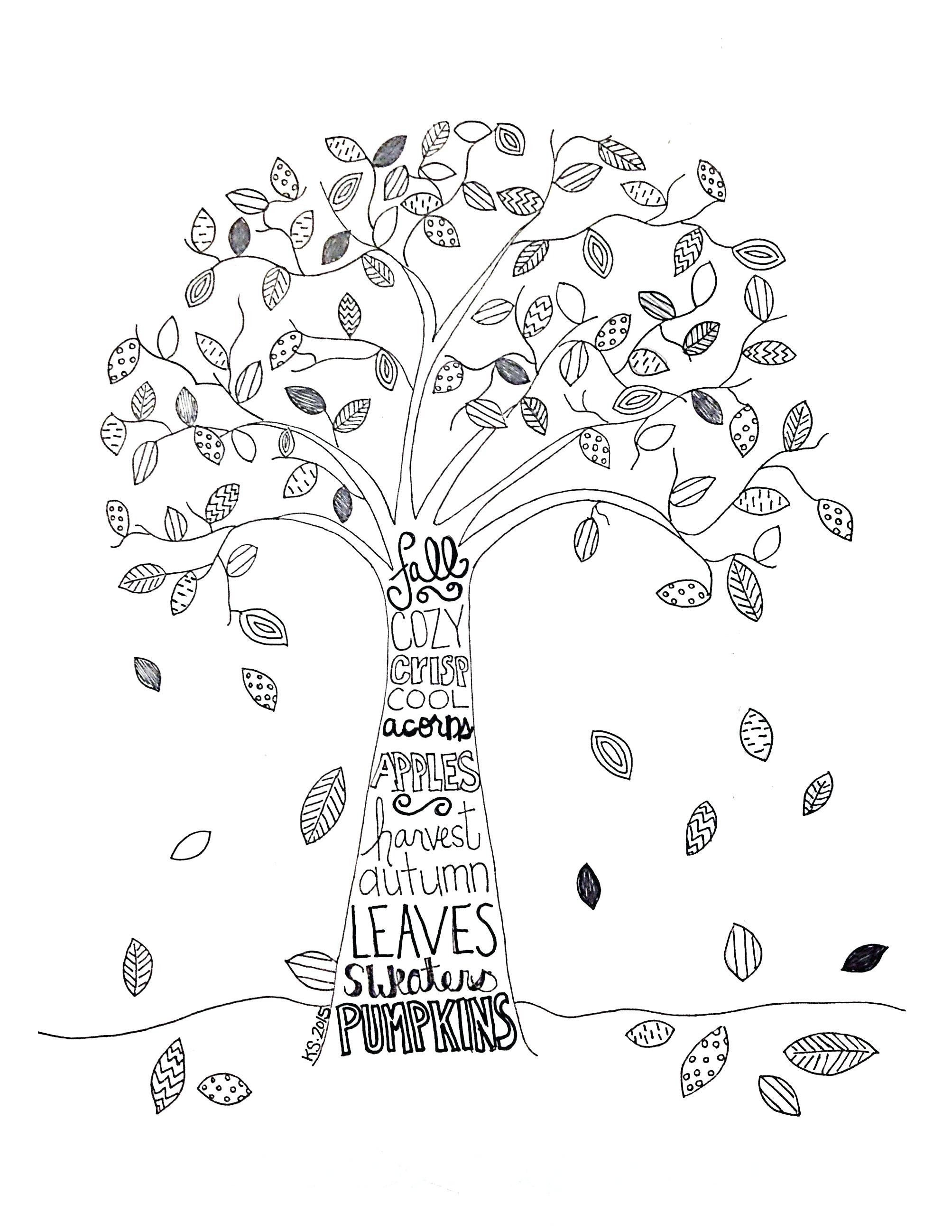 Apple Tree Coloring Page New Fall Tree Coloring Pages Printable Tedpaper [ 2596 x 2007 Pixel ]