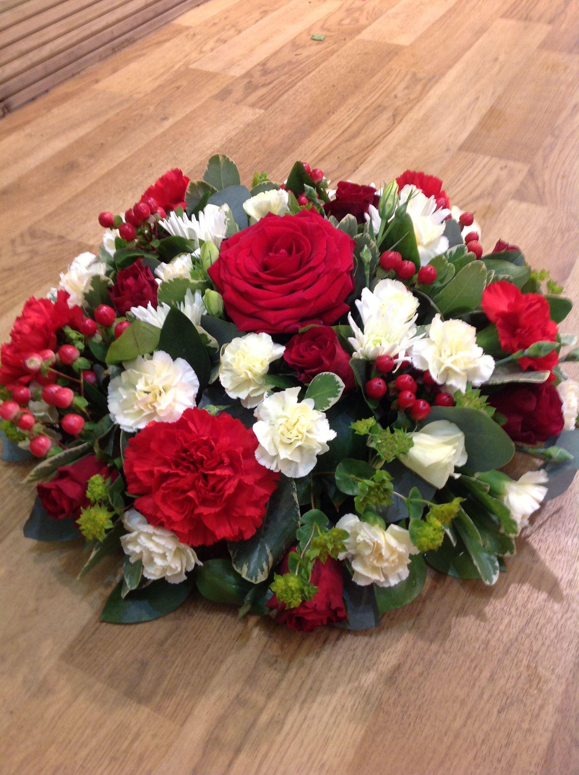 Mixed Red Rose Posie Pad Funeral Arrangementsflower