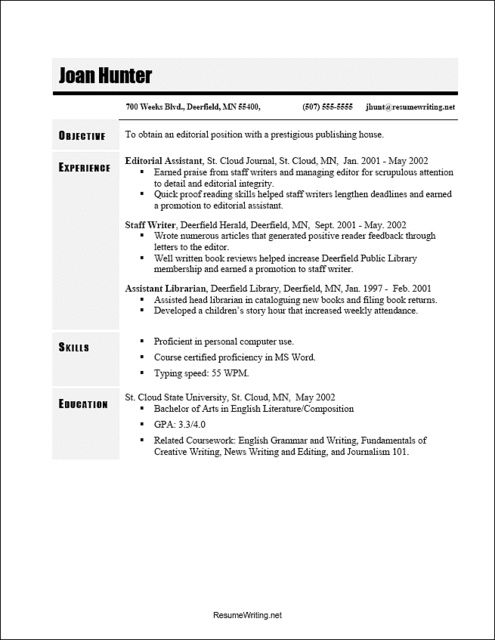 Resume Writing Template Onebuckresume Resume Layout Resume Examples Resume Builder Resume