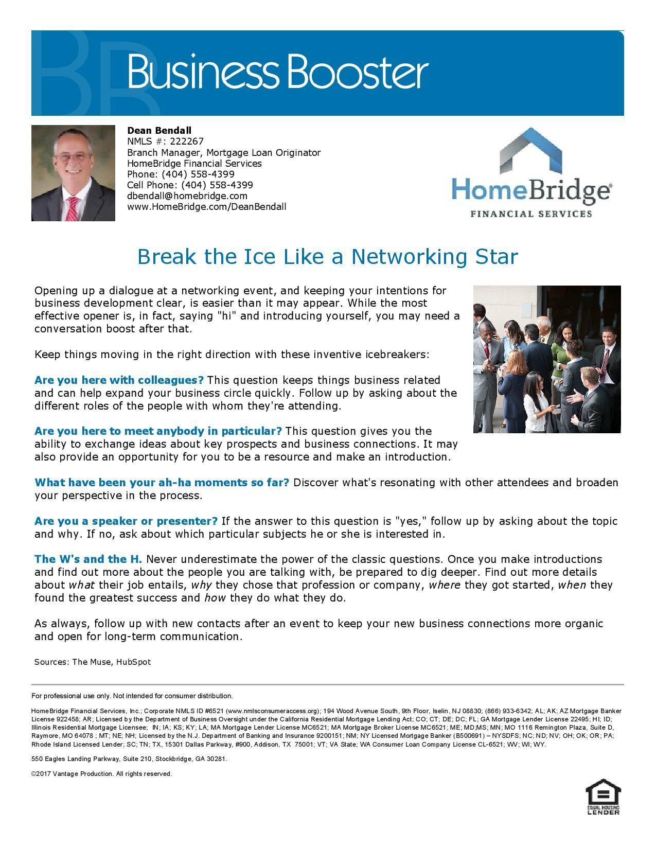 Break The Ice Like A Networking Star Dean Bendall Mortgage Loan