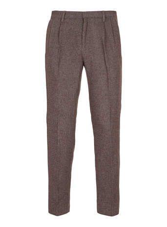 Burgundy Tweed Tapered Skinny Pants - Men's Pants  - Clothing