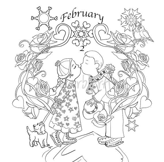 february coloring page adult coloring book printable instant download - February Coloring Pages Printable