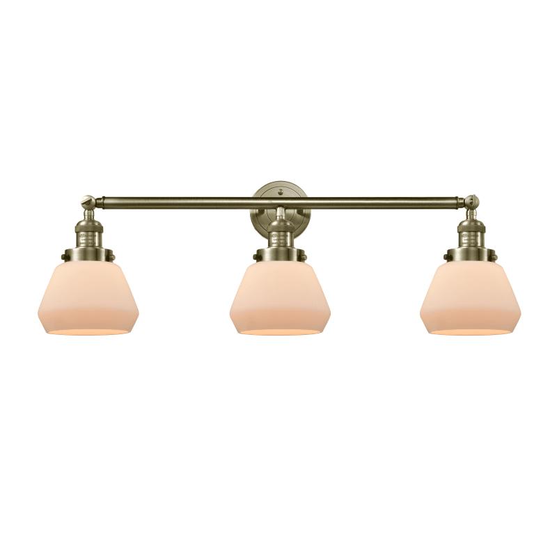 """Photo of Innovationen Beleuchtung 205-S Fulton Fulton 3 Light 30 """"breites Badezimmer Eitelkeitslicht Antik Messing / Mattweiß Innenbeleuchtung Badezimmerarmaturen Eitelkeit"""