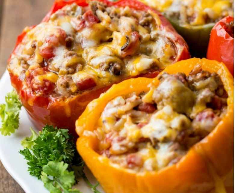 Slow Cooker Stuffed Bell Peppers Stuffed Peppers Recipes Cooker Recipes