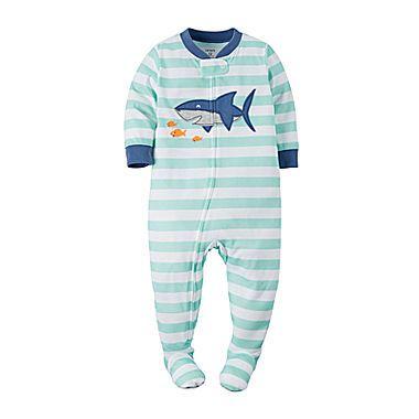 jcp | Carter's® Shark Zip-Up Footed Pajamas - Baby Boys newborn ...