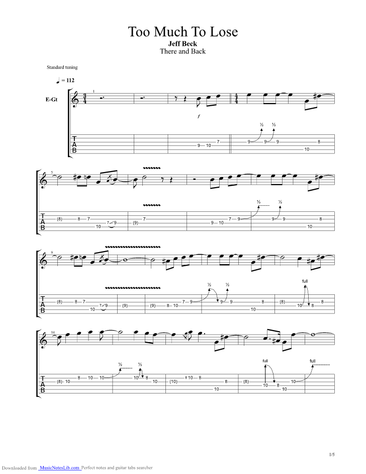 Too Much To Lose Guitar Pro Tab By Jeff Beck