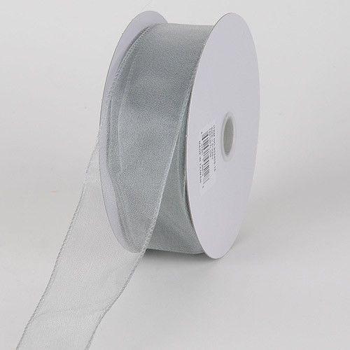 Organza Ribbon Thick Wire Edge 25 Yards Silver ( W: 1-1/2 inch | L: 25 Yards )