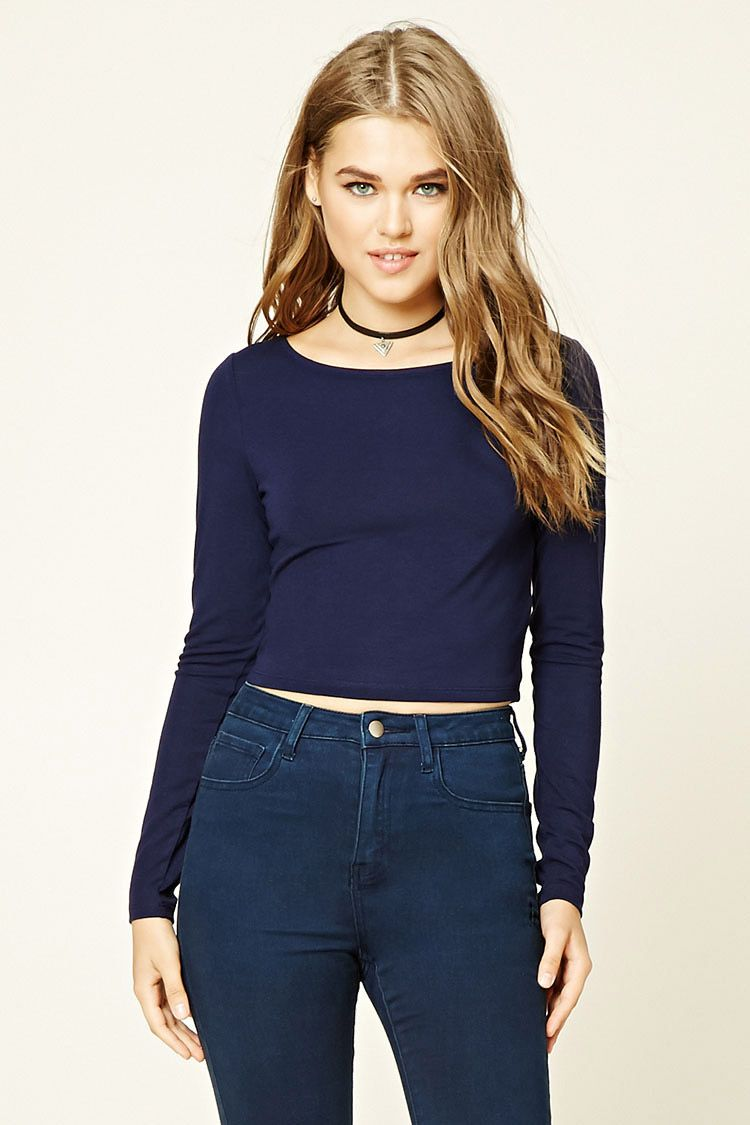 3818b279e1d F21 Scoop-Neck Crop Top $7 :: A knit long-sleeved crop top with a scoop  neckline.
