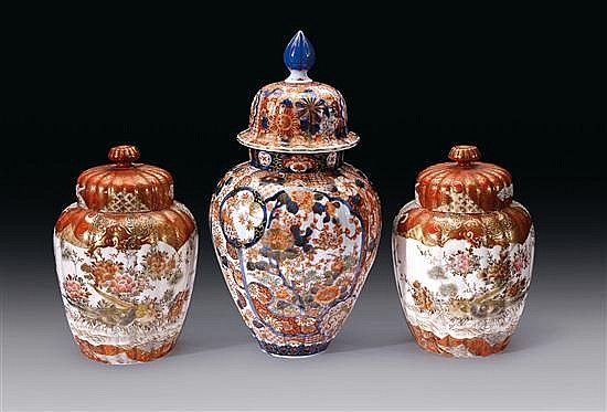An Imari vase and cover, late 19th century together with a pair of vases and covers decorated predominantly in iron-red and gilding with details in coloured enamels, grisaille and sepia (6) 34.5cm high; and 22cm high  PROPERTY FROM THE ESTATE OF THE LATE DR JAN ALTMANN, MELBOURNE