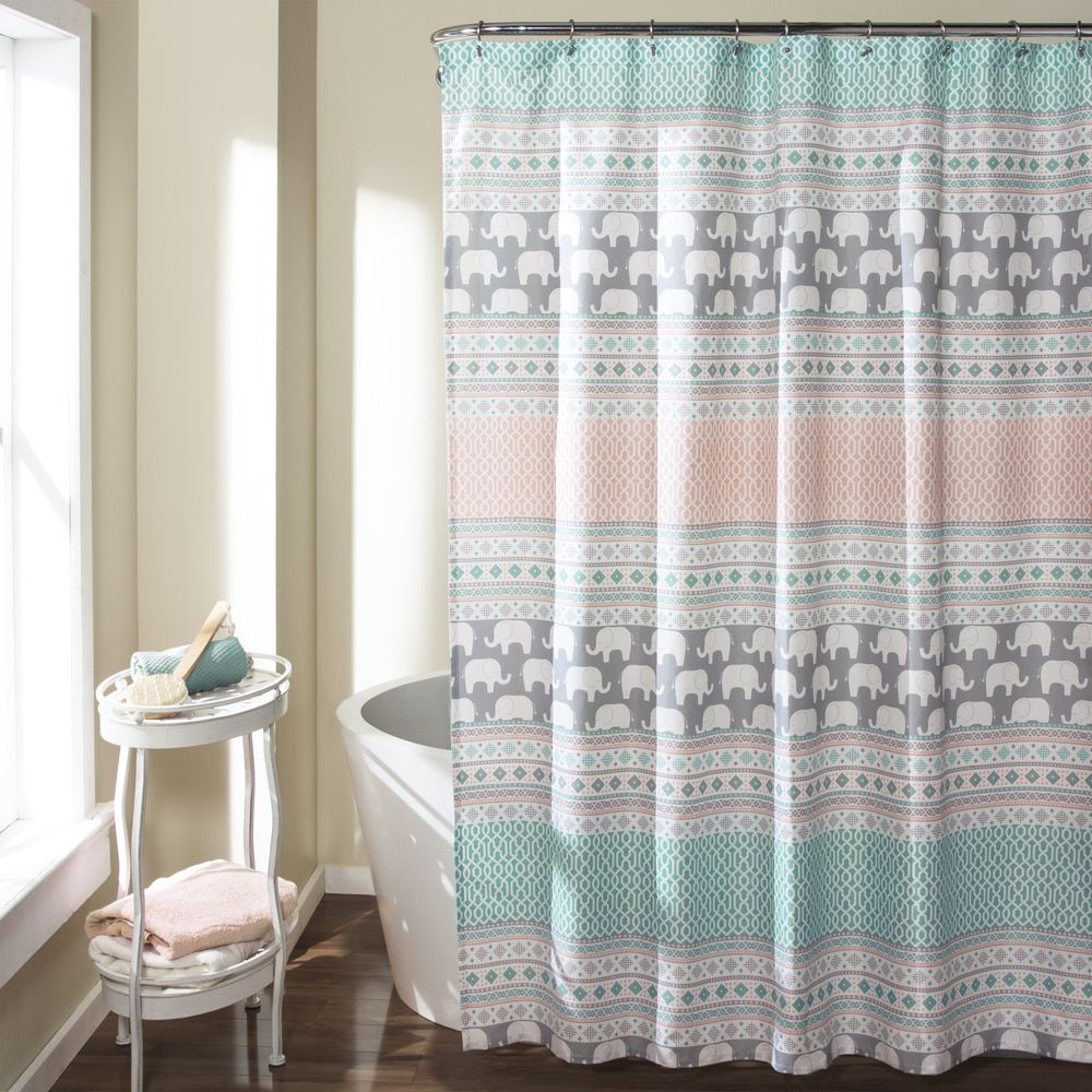 Chevron bathroom sets with shower curtain and rugs - Lush Decor Elephant Stripe Shower Curtain 19030568 Overstock Great Deals On Lush Decor