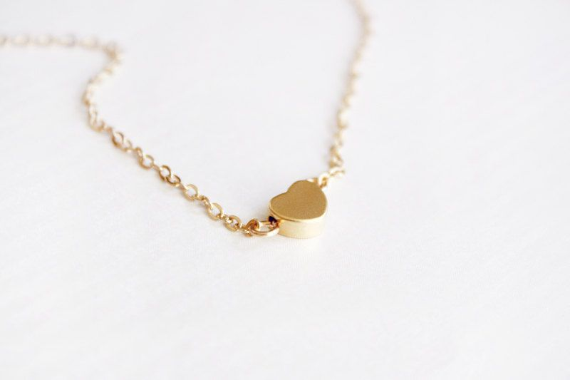 tiny gold heart necklace  delicate necklace   dainty by PetiteCo, $13.80