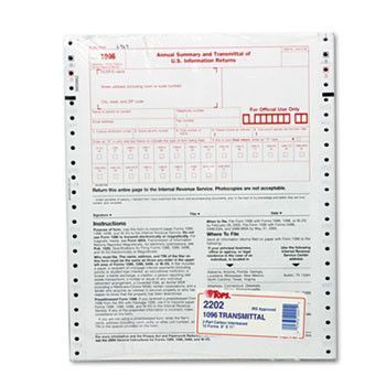 1096 Irs Approved Tax Forms, 8 X 11, 2-Part Carbon, 10 Contin Forms