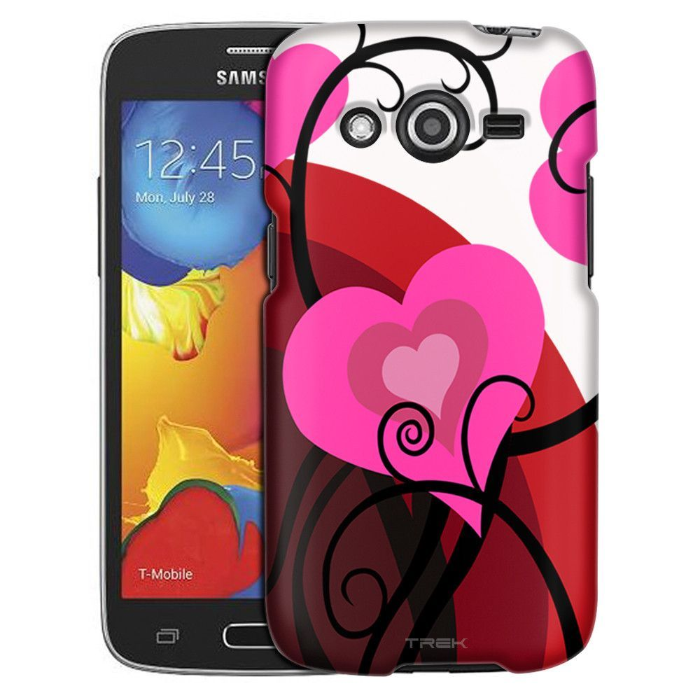 Samsung Galaxy Avant Pink Hearts on Red White Slim Case