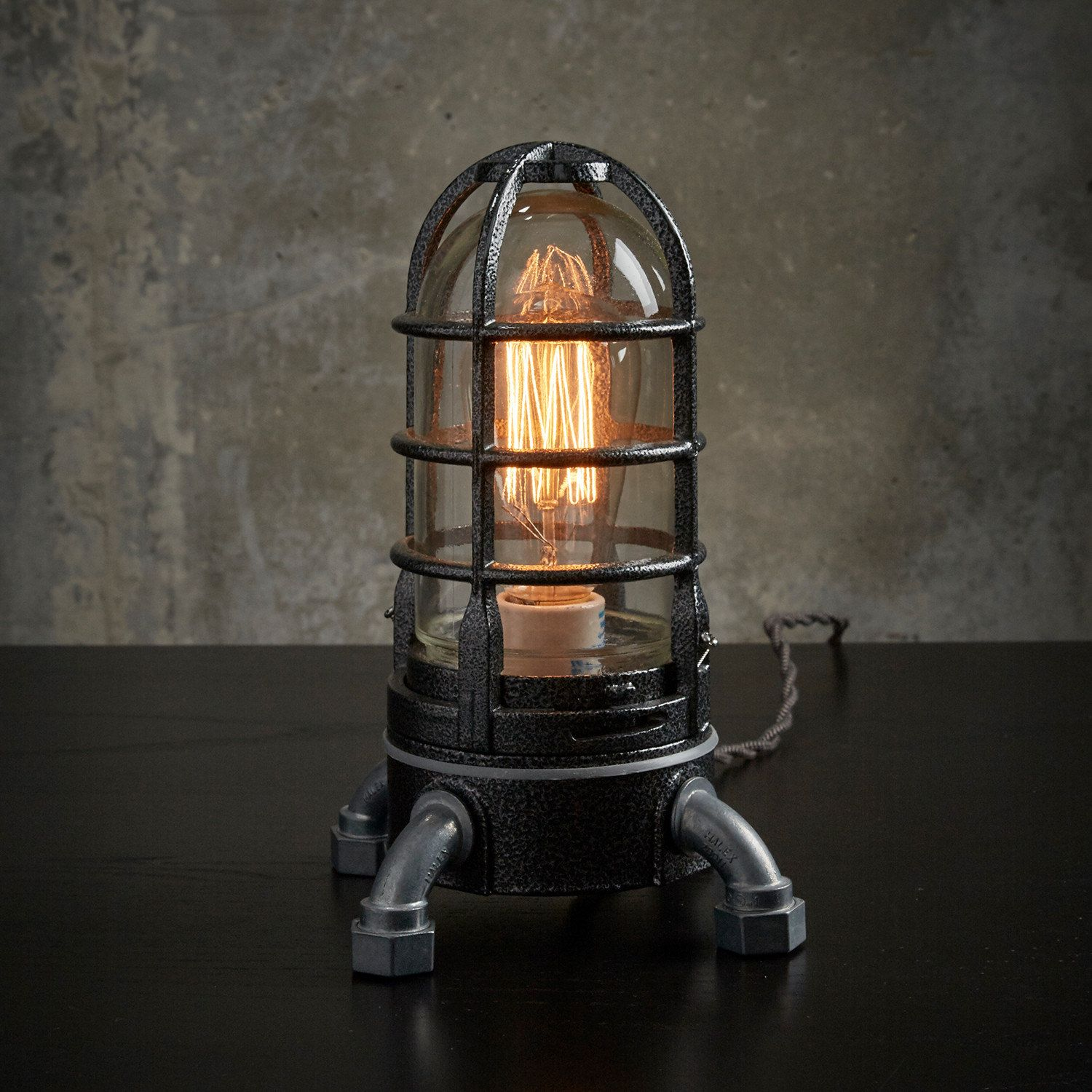 Industrial steampunk nautical table lamp in hammered black modern industrial edison cage touch lamp hammered black nautical ship lightingvintage cord steampunk table lamp by millerlights greentooth Images