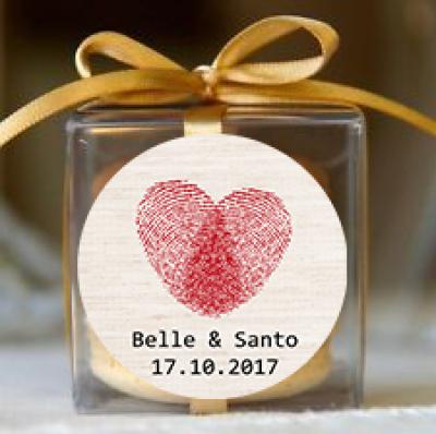 Heart Fingerprints Wedding Personalised Macaron Boxes