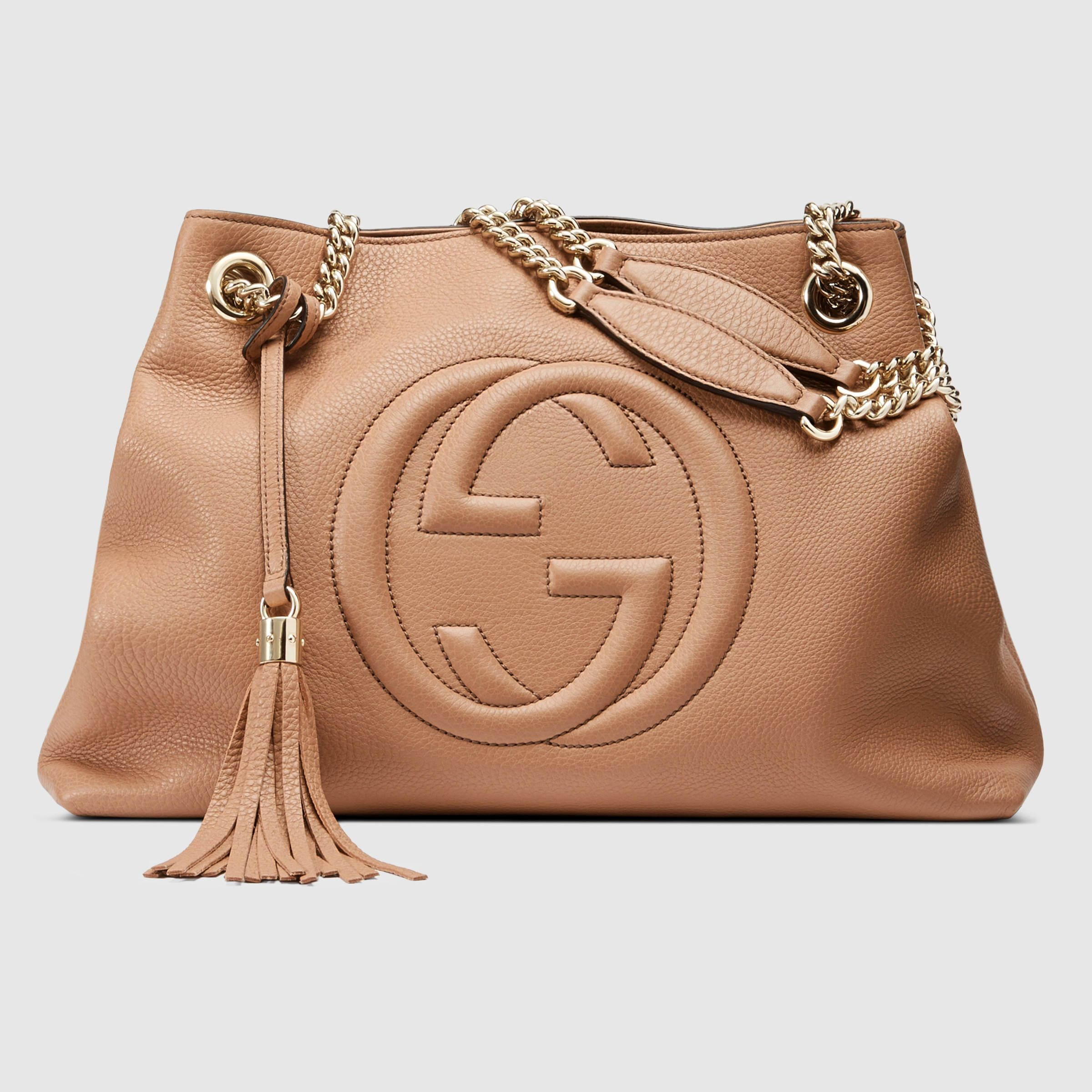 d0b9cd74eb16 Gucci Soho Leather Shoulder Bag In Natural Lyst