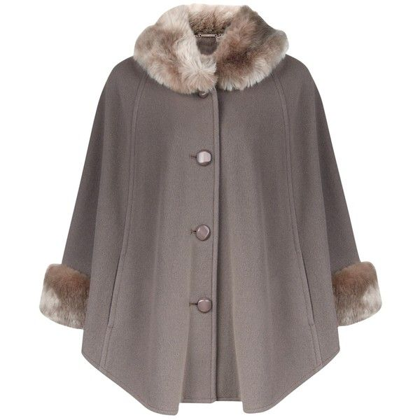 Jacques Vert Petite Faux Fur Trim Cape, Mid Grey (10.515 RUB ...