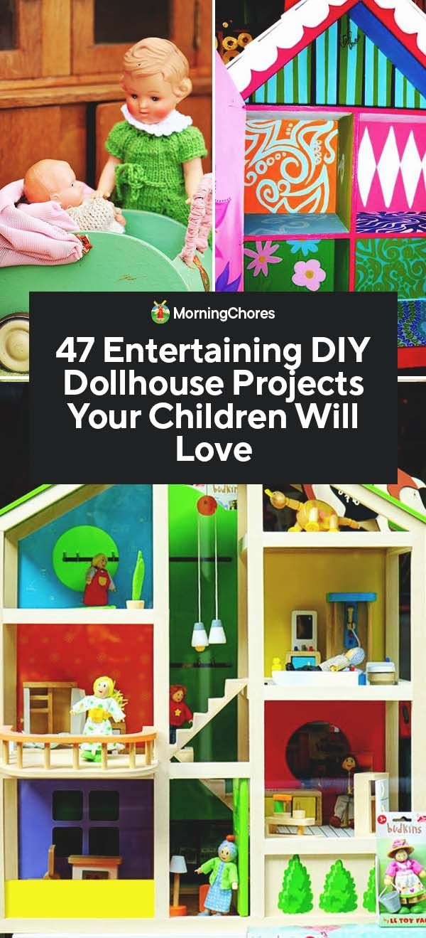 47 Entertaining DIY Dollhouse Projects Your Children Will Love is part of Cool Kids Crafts DIY Projects - A dollhouse can be a gift that is cherished forever  Creating one of these DIY dollhouse projects with your kids adds a special sentimental feeling