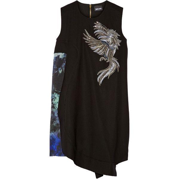 Just Cavalli Embellished wool dress ($656) ❤ liked on Polyvore featuring dresses, black, just cavalli dresses, loose fit dress, zipper dress, colorful dresses и asymmetrical dress