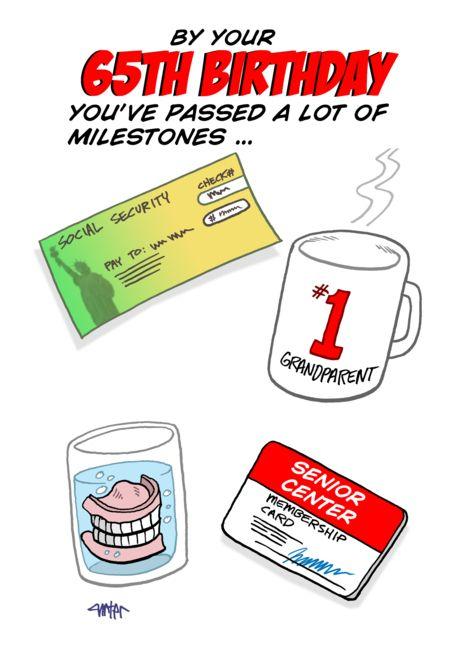 Funny senior citizen milestones  65th Birthday card