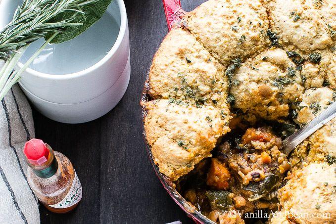 Black Eye Pea Sweet Potato Cornbread Pot Pie | Vanilla And Bean #gf #comfort #beans